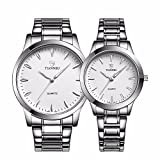 Valentines Stainless Steel His and Hers Wrist Watches Luminous Hands White Face 1 Pair(Model:Fq-240)