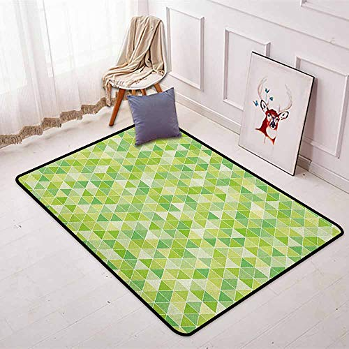 - Lime Green 3D Printed Round Carpet Triangles Geometry Figures Modern Digital Pyramids Soft Icons Graphic for Partial Areas W35.4 x L47.2 Inch Pale and Fern Green