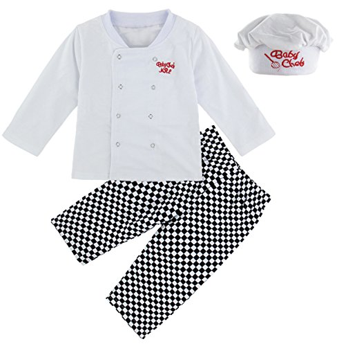 Mombebe Baby Boys' 3 Pieces Chef Toddler Halloween Costume Clothing Set with Hat (12-18 Months, Chef) -