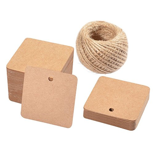 Paper Gift Tags,100 PCS Square Hang Tags with String Kraft Paper Blank Gift Tags with 100 Feet Natural Jute Twine for Arts and Crafts, Wedding Christmas Day (Hang Tags Scrapbooking)