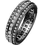 Women 18K White Gold Plated Gemstone Wedding Engagement Band Ring Size 7-10 Gift ERAWAN (8 #, Black)