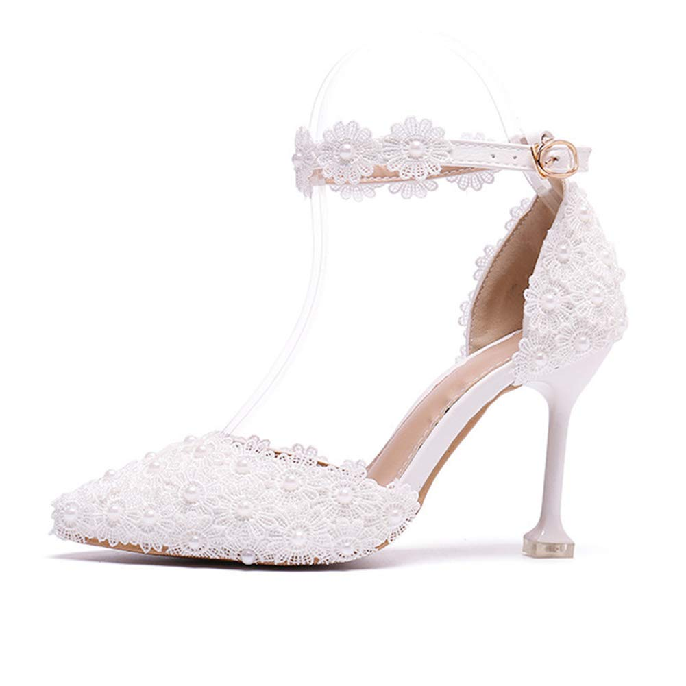 c8c831b5f43 Amazon.com: Women's Wedding Shoes Bridal Sandals Evening Dress Ankle ...