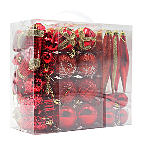 Woowell Shatterproof Ornaments Christmas Tree Decoration 54 Set Luxury Collection Red Assorted Xmas Balls Reusable Handheld Gift Box Red