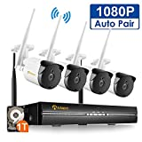 Anlapus Professional Wireless Security Camera System, 4CH HD 1080P Network IP NVR WIFI Kit with 1TB Hard Drive and 4PCS 2.0MP 1080P Outdoor Indoor Waterproof Bullet Cameras with Motion Detection
