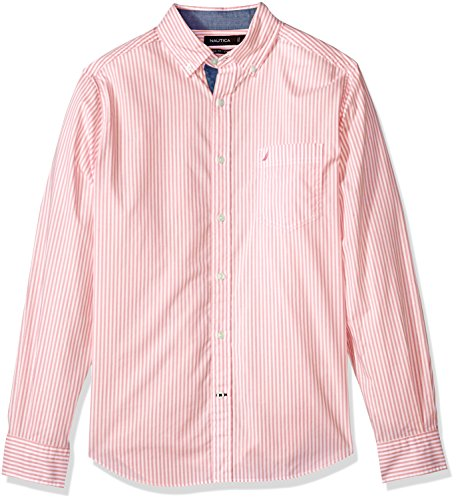 Nautica Mens Classic Fit Stretch Striped Long Sleeve Button Down Shirt