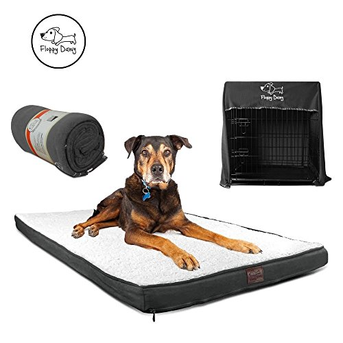 Floppy Dawg Gel Memory Foam Dog Bed and Crate Cover Blanket Bundle, Removable Cover, Waterproof Liner, Fits 42 Inch Crates. Slate Gray Suede and Fleece with White Sherpa Top.