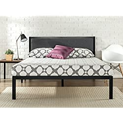 Zinus 14 Inch Platform Metal Bed Frame with Upholstered Headboard, Mattress Foundation, Wood Slat Support, Full
