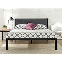 Zinus 14 Inch Platform Metal Bed Frame with Upholstered Headboard / Mattress Foundation / Wood Slat Support, Queen