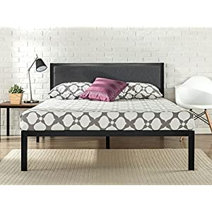 Zinus 14 Inch Platform Metal Bed Frame with Upholstered Headboard/Mattress Foundation/Wood Slat Support