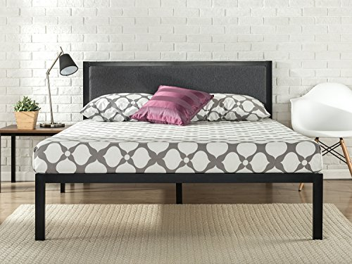 Zinus 14 Inch Platform Metal Bed Frame with Upholstered Headboard / Mattress Foundation / Wood Slat Support, (Modern Style Platform)