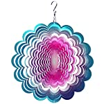 FONMY Wind Spinner Stainless Steel 3D Hanging Garden Decoration for Indoor Outdoor Blue-Pink Sunflower Metal Wind Spinners-12inch