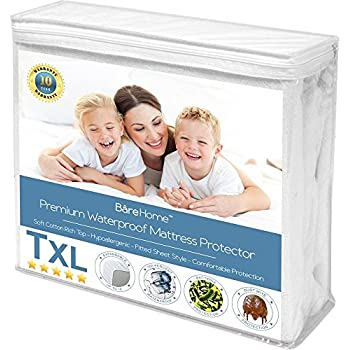 Twin XL Size Premium Mattress Protector - 100% Waterproof - Vinyl Free Hypoallergenic - 10 Year Warranty - (Twin XL, White)