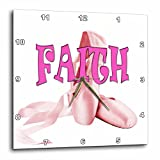 3dRose RinaPiro Kids - Faith. Pink ballet shoes. - 10x10 Wall Clock (dpp_268796_1)