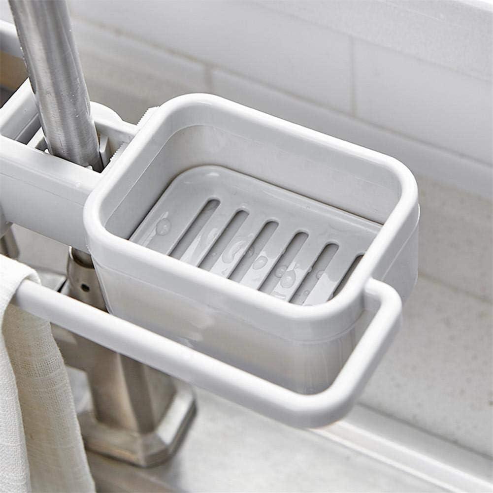Organizador de almacenamiento Grifo del fregadero de la cocina Esponja Jabón Escurridor Soporte para estante Almacenamiento Estantería - No se requieren taladros Accesorios de cocina (27.2x10.5cm)