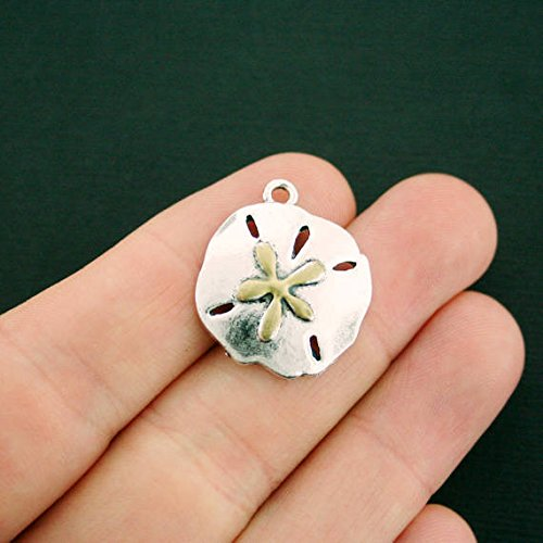 (2 Sand Dollar Charms Antique Silver Tone and Gold Enamel Large Size Jewelry Making Supply Pendant Bracelet DIY Crafting by Wholesale Charms)
