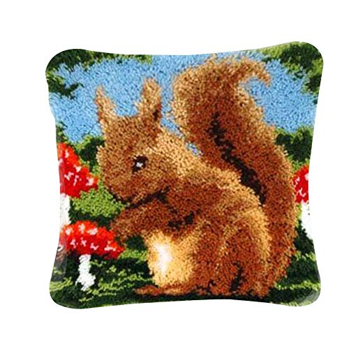 WXLAA Latch Hook Kit DIY Throw Pillow Cover Sofa Cushion Cover Animal Pattern Paint Cross Stitch Squirrel