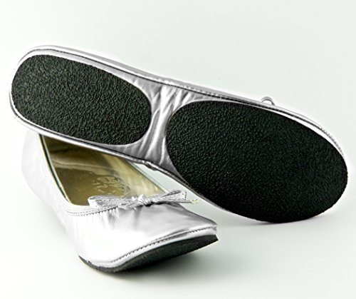 Fit in Clouds Patent Folding Portable Shoes With Pouch For Travel, Weddings & Night Outs Silver