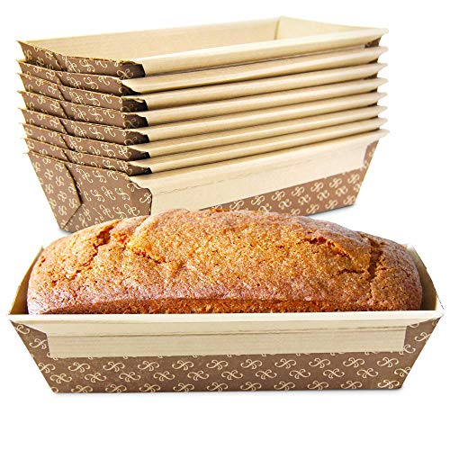 Bread Pans 30 - [30 Pack] 1 LB Kraft Paper Bread Loaf Pan Disposable Corrugated Recyclable Bakery Pastry Rectangle Pans with Artisan Print for Baking, Microwave Freezer and Oven Safe