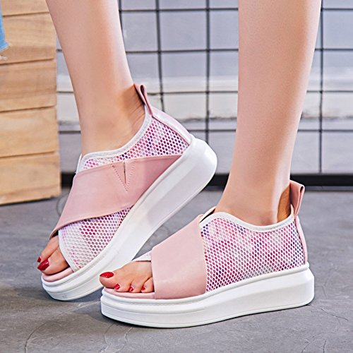 Womens Platform Sandals Thick Bottom Summer Fashion White Pink Flatform Sandal 1.pink ROI0do