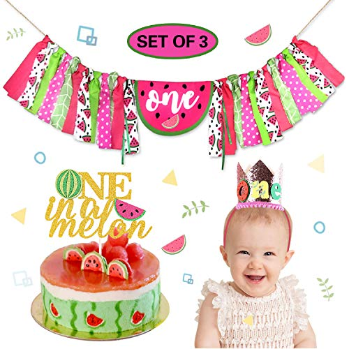 KeaParty Baby One in a Melon 1st Birthday Party Decorations Supplies, Highchair Banner, Crow Hat, Cake Topper, Summer Fruit Theme, First Watermelon Bday, Cake Smash Milestone Photo Prop Backdrop