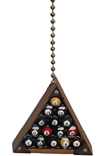 Eight Ball Billiards Pool Rack Room Ceiling Fan Light Pull