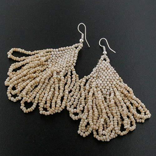 2 3/8'' Elegant Beige Beads Dangling Chandelier Earrings YE-2859