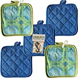 5 (FIVE) Sets of The Home Store Cotton Pot Holders, 2-ct. Color Variety Pack Kitchen Cooking Chef Linens (Green Flowers #2)
