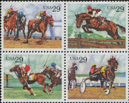 Horse Postage - SPORTING HORSES ~ KENTUCKY DERBY ~ POLO ~ STEEPLECHASE ~ HARNESS RACING #2759a Block of 4 x 29 cents US Postage Stamps