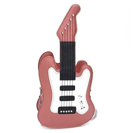 Nankod - Bolso Bandolera de Piel sintética con Forma de Guitarra para Mujer, Rose Pink
