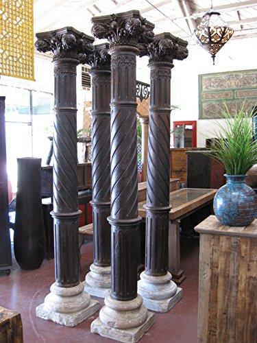 Rare Carved Wood Pillars