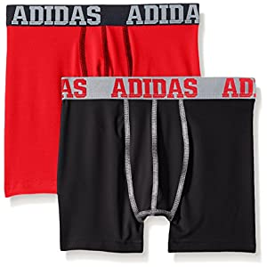 adidas Kids Boy's Sport Performance Climalite 2-Pack Boxer Brief (Big Kids) Black/Solid Red/Solid Red/Black LG (14-16 Big Kids)