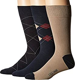 Mens 3-Pack Argyle/Stripe Crew