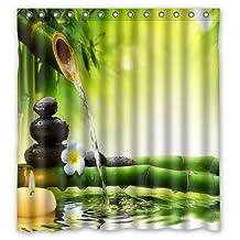 "Custom Print Design Zen Garden Jasmine Flower Relaxation Green Bamboos Yellow Candles Shower Curtain Decoration Mildew Waterproof Polyester Fabric Bathroom Shower Curtain 66"" x 72"" Inch"