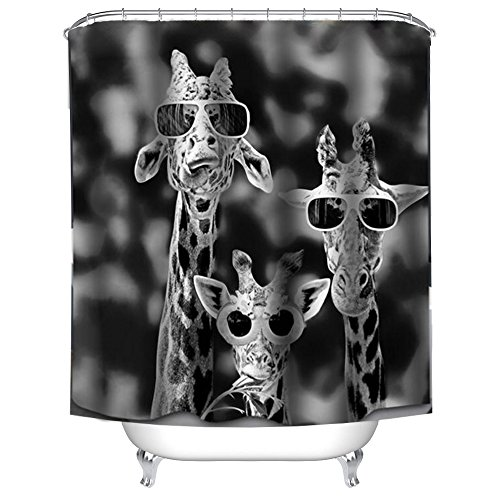 WAYLONGPLUS Giraffe Wearing Sunglasses Print Waterproof Pongee Shower Curtain Plastic Shower Hooks Include (72