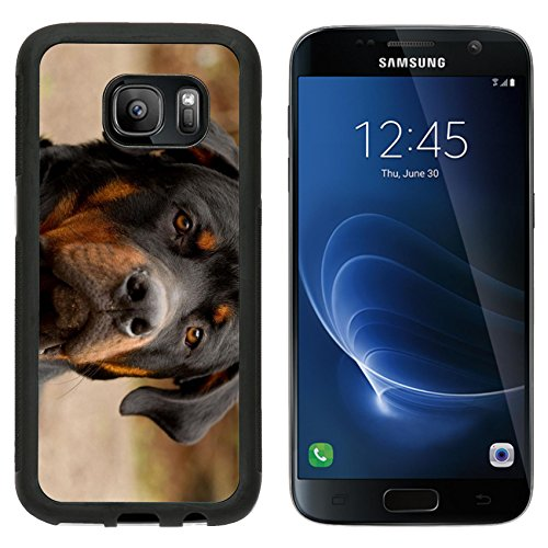 (MSD Premium Samsung Galaxy S7 Aluminum Backplate Bumper Snap Case IMAGE ID: 15039948 frontal portrait of an adult male purebred Rottweiler narrow dof focus on the eye )