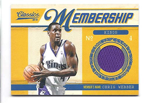 CHRIS WEBBER 2010-11 Panini Classics Membership Materials #47 Game Worn Jersey Card #277 of only 499 Made! Sacramento Kings Basketball -