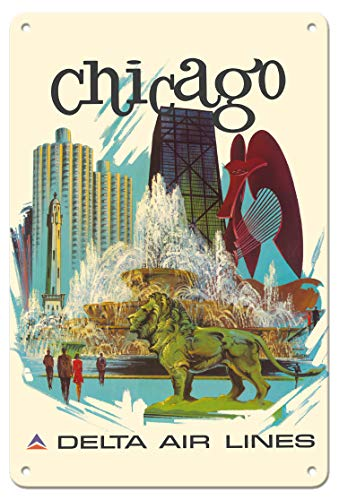 Pacifica Island Art 8in x 12in Vintage Tin Sign - Chicago, Illinois - Buckingham Fountain, Marina City - Delta Air Lines by Fred Sweney