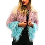 KFSO Womens Ladies Warm Shaggy Faux Fur Short Coat Jacket Winter Gradient Color Parka Outerwear (Blue, 3XL)