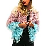 VIASA Womens Ladies Sexy Fashion Outerwear Warm Faux Fur Coat Winter Gradient Color Parka Jacket (S, Blue)