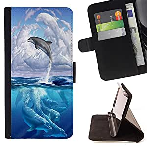 Dragon Case- Mappen-Kasten-Prima caja de la PU billetera de cuero con ranuras para tarjetas, efectivo Compartimiento desmontable y correa para la mu?eca FOR HTC Desire D816 816 d816t- Dolphins sea
