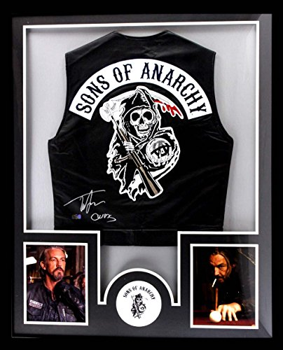 Tommy Flanagan Autographed/Signed Officially Licensed Sons Of Anarchy Framed Black Biker Vest With