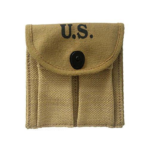 World War Replica WWII-US-webbing-M1-Carbine-Khaki-Canvas-Magzine- Ammo Ammunitions-Cartridge-Pouch-Fit Around- Buttstock-Stock-Pistol Waist-Belt (Airsoft Pouch Ammo Stock)
