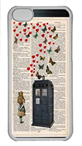 Doctor Who Tardis Art Print, Dr. Who Wall Art, Vintage Doctor Who, Butterfly Decor, Alice in Wonderland Print Doctor Who Transparent PC Case Cover Fits APPLE iphone 5c