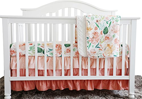 Secret Garden Coral Floral Ruffle Baby Minky Blanket Water color, Peach Floral Nursery Crib Ruffle Skirt Set Baby Girl Crib Bedding (Secret Garden 3 pieces set)