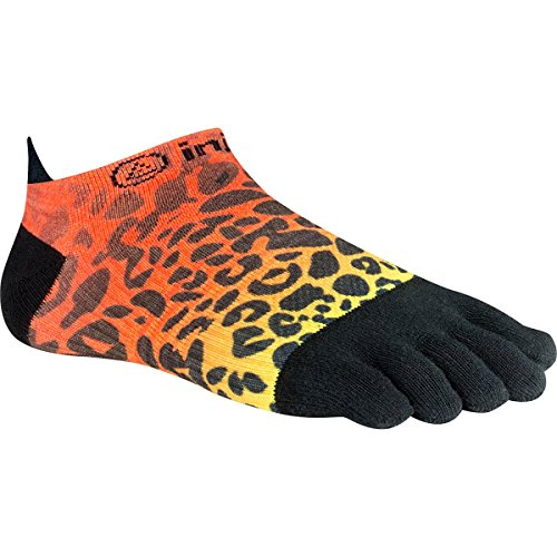 Injinji Women's Run Lightweight No Show Coolmax Xtra Socks, Orange Flash Spectrum, (Womens Coolmax Athletic Socks)