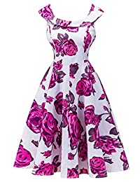 FEOYA Women's 1950s Vintage Dress Party Cocktail Swing Midi Dress for Ladies
