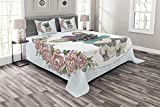Lunarable Animals Bedspread Set Queen Size, Vintage Design Animal Dog Puppy Art Design Floral Heart Flowers, Decorative Quilted 3 Piece Coverlet Set with 2 Pillow Shams, Baby Blue Dimgrey Pale Pink