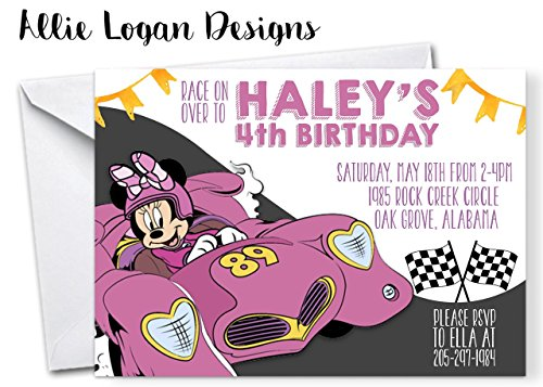 Mickey Roadster Racers Birthday Invitation Featuring Minnie Mouse ()