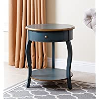 Abbyson Living Aston 1 Drawer Round End Table in Rustic Teal and Gold