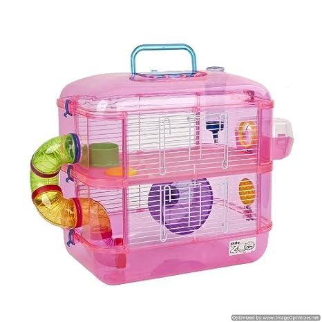 Jaula para hámster, 2 pisos, con rueda, color rosa: Amazon.es ...